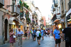 Walking-in-Taormina-street